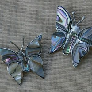 2 Vintage Butterfly Brooches w Sterling Silver